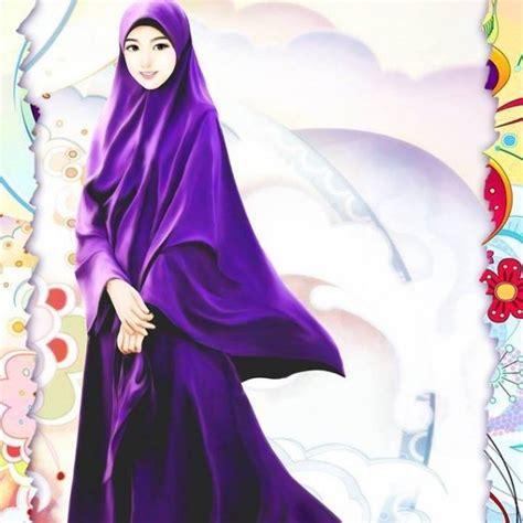 gambar muslimah berhijab syari kartun  cute