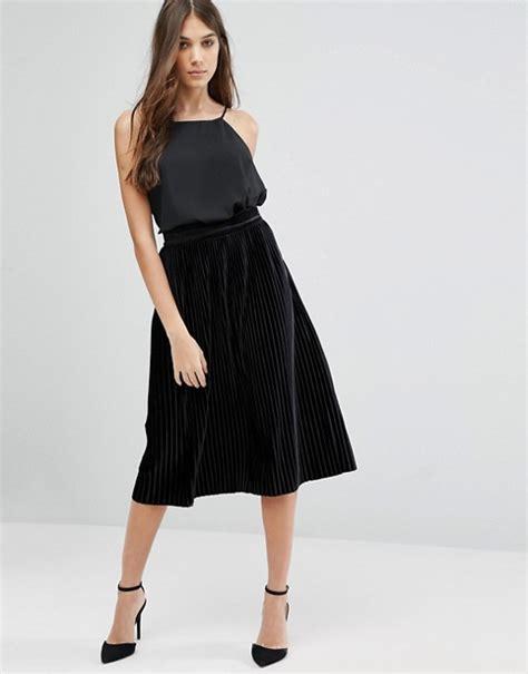 vila vila midi pleated velvet skirt