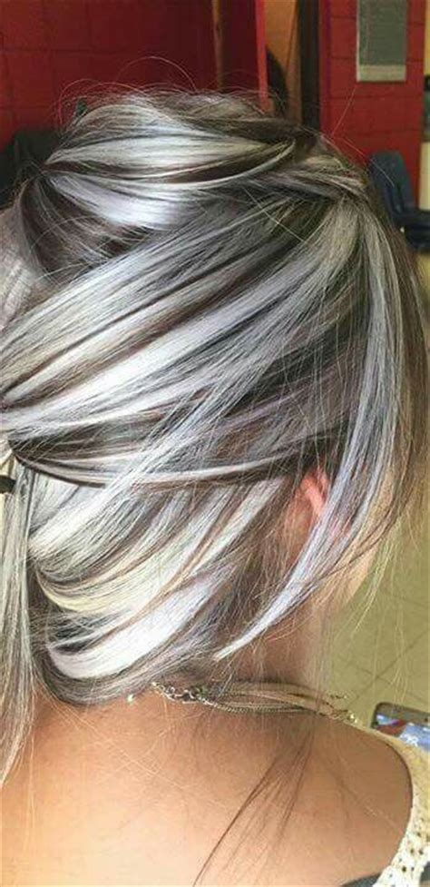 gray with red highlight hair style heavy platinum highlights with rich chocolate brown