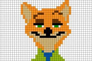 Zootopia fox nick wilde pixel art brik
