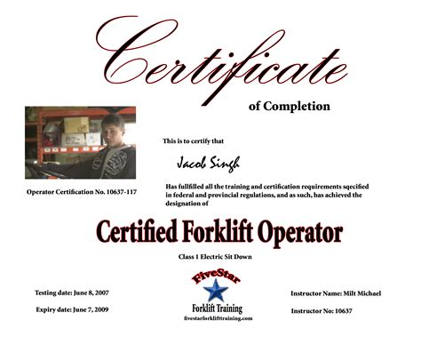 forklift certification card template forklift licence template 28 images forklift