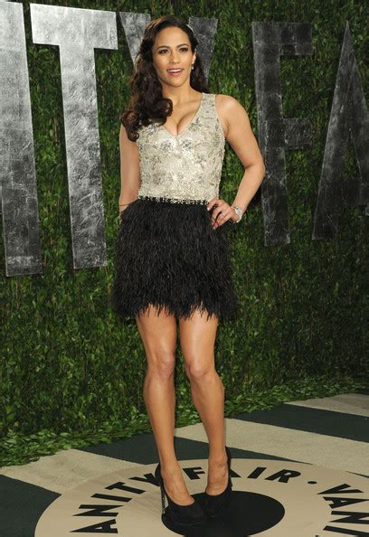 Paula Pattons Feathered Oscars Party Dress Celebrity | paula patton s feathered oscars party dress celebrity