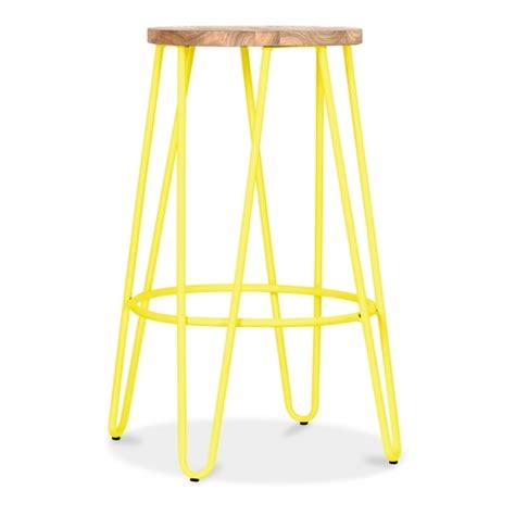 Softening Stools Naturally by Cult Living Hairpin Stool In Yellow With 66cm Wood Seat Cult Uk