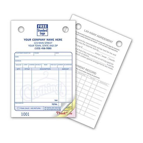 tailor receipt template general invoice forms carbonless printing designsnprint