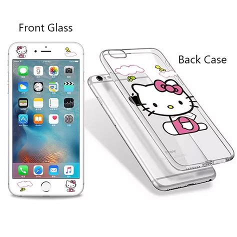 Tempered Glass And Painted Phone For Iphone 6 013 white hello soft tpu for iphone 6 6s tempered glass screen protector iphone6 iphone6s