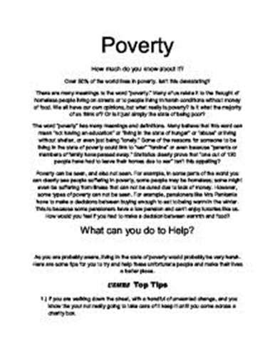 Essay About Poor by Free World Poverty Essays And Papers 123helpme