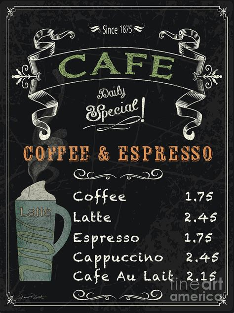 Customizable Floor Plans cafe blackboard coffee menu jp3046 painting by jean plout