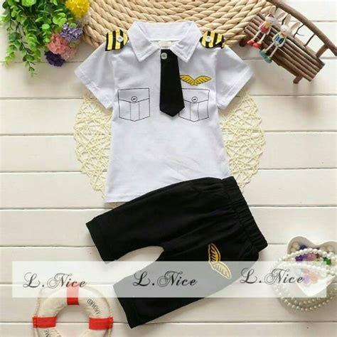 Setelan Baju Bayi Cewek Baju Anak Sailor Dasi jual baju setelan anak cowok laki lnice 81 kostum pilot dasi putih hitam di lapak laksana jaya