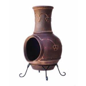 Chiminea Warehouse Clay Chiminea In Smoked Brown Kd 016 The Home Depot