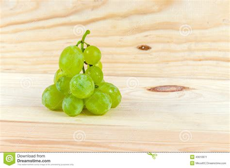 Fresh Green Light by Grapes On Wooden Background Stock Photo Image 43610871