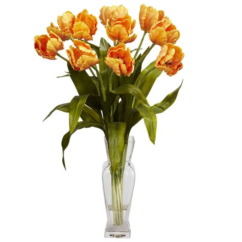 Orange Artificial Flowers In Vase by Tulips W Vase Silk Flower Arrangement Orange
