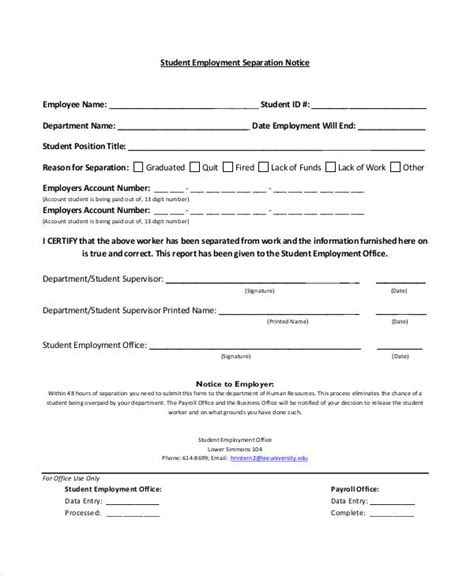 separation notice template 13 free word pdf document