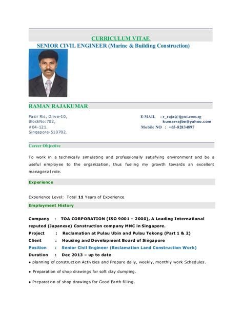 Job Resume Template Singapore by Raja Kumar Resume Senior Civil Engineer
