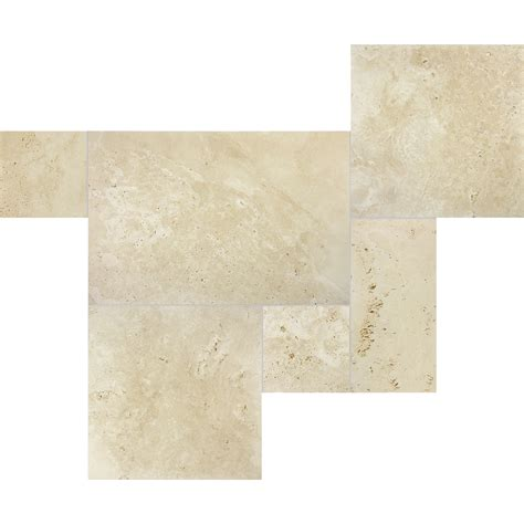 shop 6 piece ivory cobblestone pattern travertine tile set at lowes com