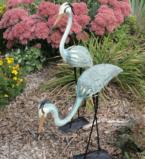 2 blue herons outdoor garden decor steel metal yard