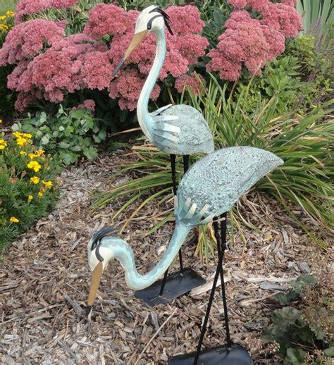 Steel Garden Decor 2 Blue Herons Outdoor Garden Decor Steel Metal Yard Sculpture Statue Heron Decoy 69 99 Picclick