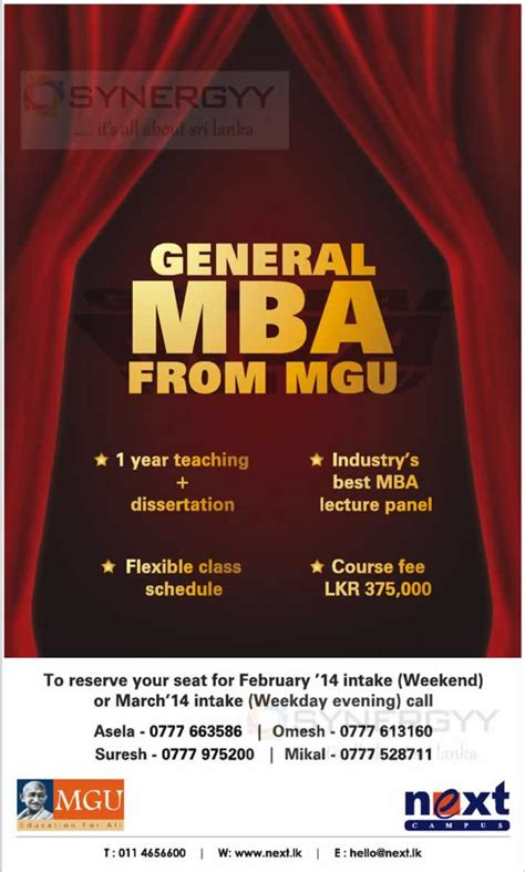 Mgu Mba Syllabus by Mgu Mba In Sri Lanka 2014 Education Synergyy