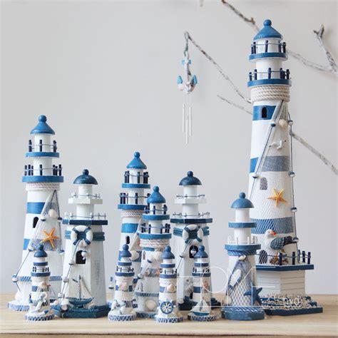 lighthouse home decor blue mediterranean wooden nautical lighthouse tower