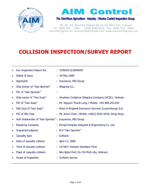 geico marine insurance self survey form final report sle of collision survey