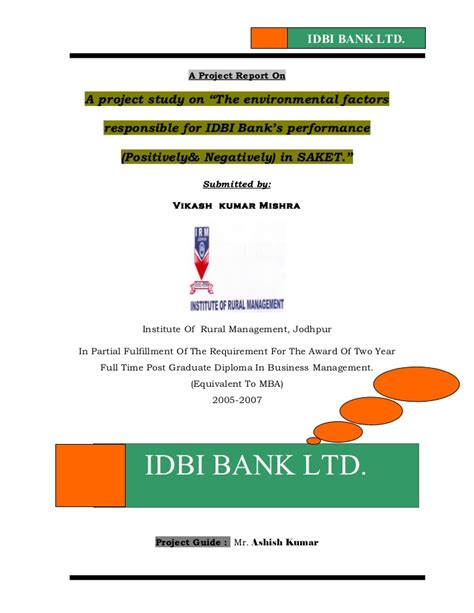 Mba Project Report On Idbi Federal by 6248608 Summer Project Report On Idbi Bank