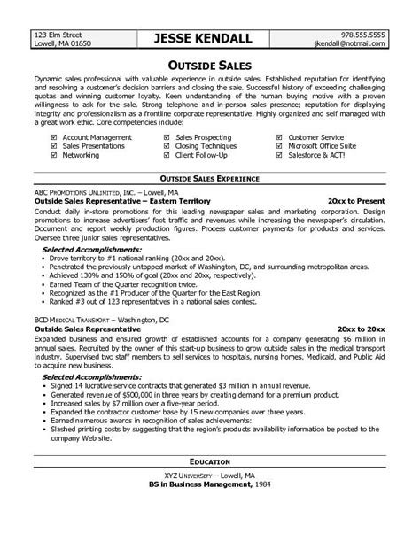 Sle Of A Resume Outside Sales Resume Template Resume Builder