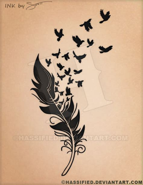 tattoo flash feather birds of a feather tattoo by hassified on deviantart