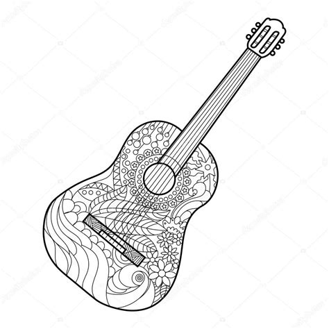 doodle do guitarra acoustic guitar coloring book for adults vector stock