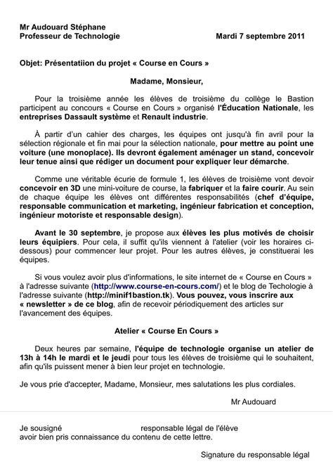 Presentation De Lettre Type Calam 233 O Lettre De Pr 233 Sentation Du Projet Quot Course En Cours Quot