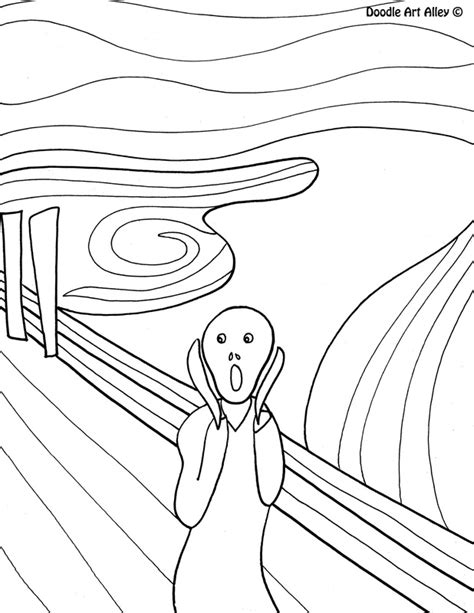 Famous Art Work Coloring Pages Classroom Doodles Works Of Coloring Pages
