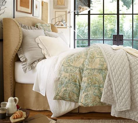 Pottery Barn Headboard Raleigh Upholstered Wingback Bed Headboard Pottery Barn
