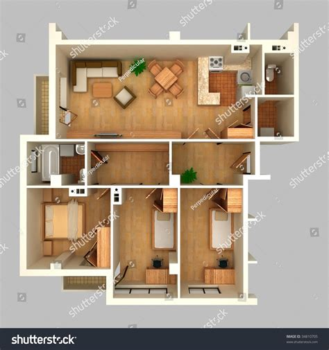 floor plan and perspective floor plan in perspective view stock photo 34810705