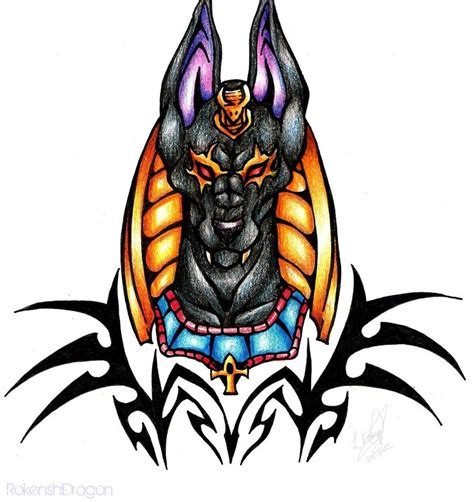 colored tribal tattoos anubis tattoos and designs page 63