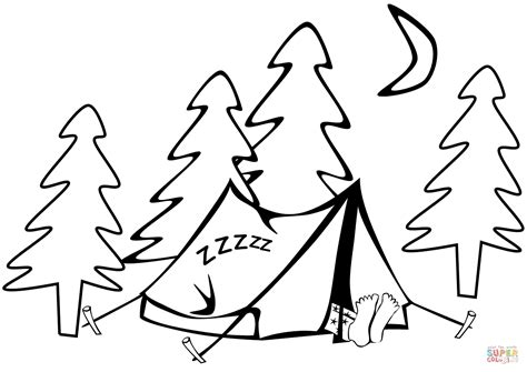 sleeping in a tent coloring page free printable coloring