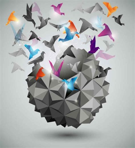 Three Dimensional Origami - three dimensional paper cranes background free vector in
