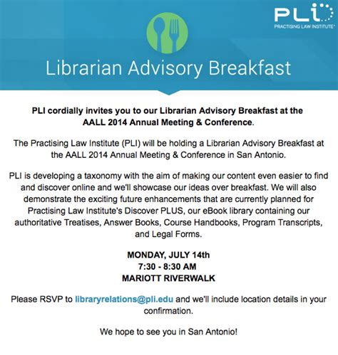 Sle Invitation For Breakfast Meeting Aall Annual Meeting Pli Librarian