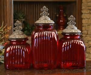 Red Glass Kitchen Canisters Red Glass Canisters With Cross Lids Set Of 3