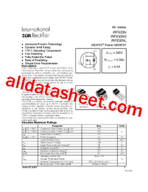 Transistor Mosfet Irf630n Irf irf630nl 데이터시트 pdf international rectifier