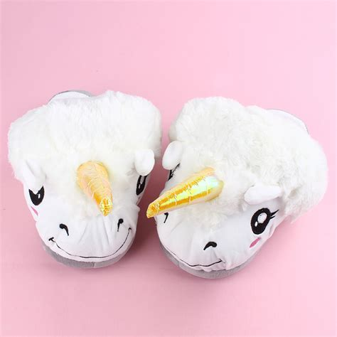 white warm winter indoor unicorn soft slipper
