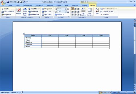 layout in word 2007 how do i create and format tables in word 2007