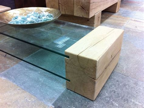 coffee table made from new oak railway sleepers and