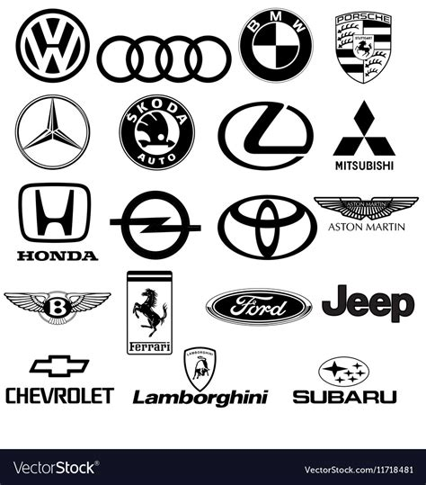 logo black and white vector black white car logos royalty free vector image