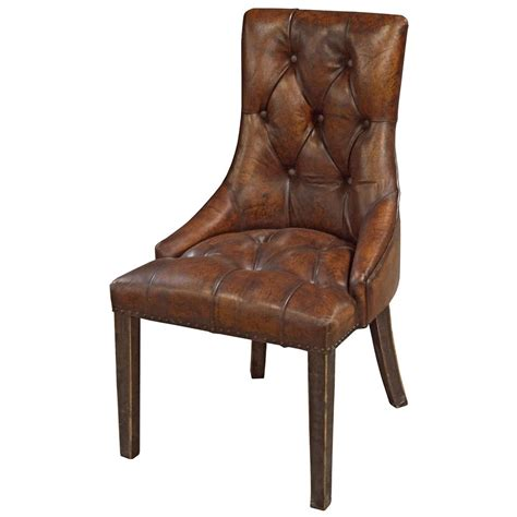 rustic leather dining chairs anneau rustic lodge tufted vintage brown leather dining