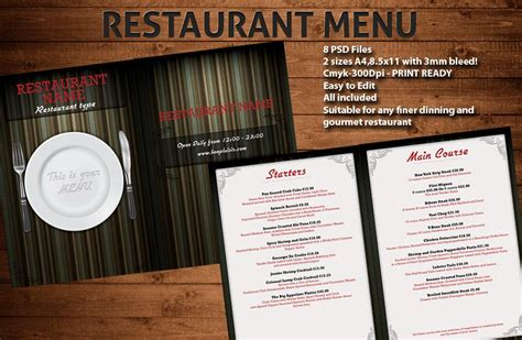 free restaurant menu template psd menu template psd