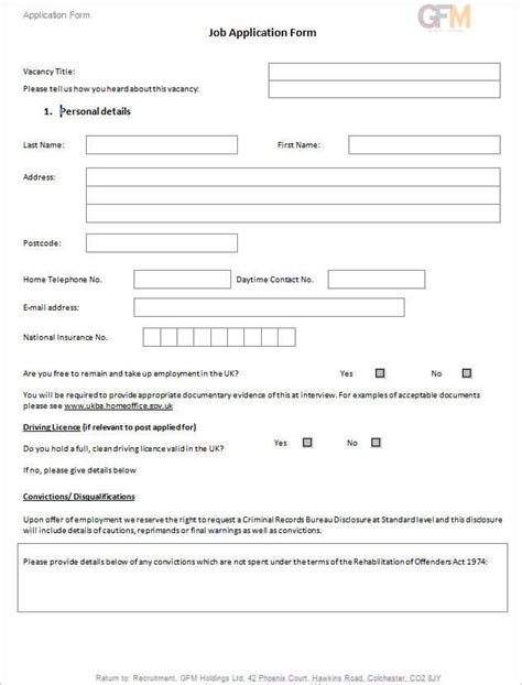 190 job application form sle exle format