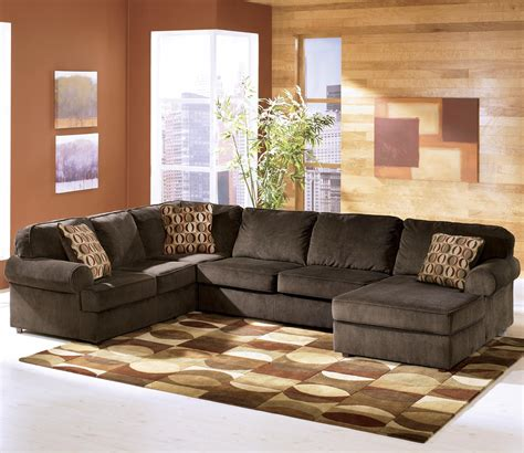 chocolate brown sectional sofa with chaise ashley furniture vista chocolate 3 piece sectional with