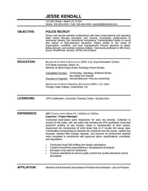 officer resume sle objective http www resumecareer info officer resume