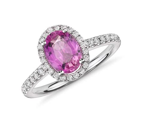 pink sapphire and ring in 14k white gold 8x6mm