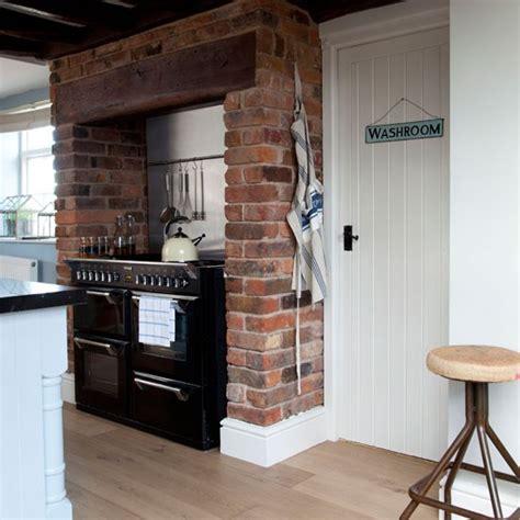 brick in kitchen rustic raw brick kitchen country kitchen ideas