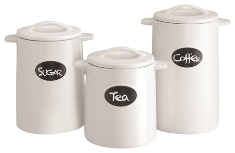white canisters for kitchen chalkboard canisters set of 3 white contemporary