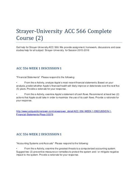 Strayer Mba Courses by Strayer Acc 566 2